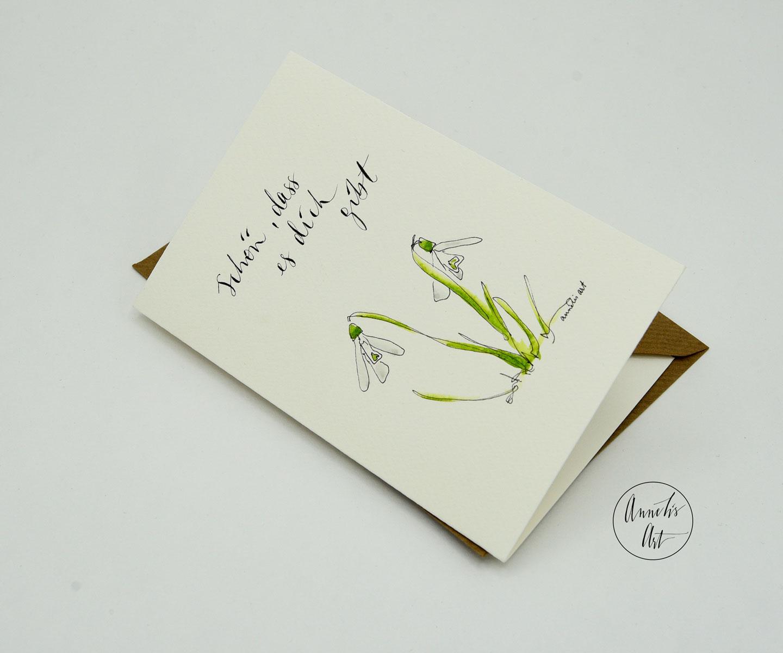 Grußkarte mit Umschlag | Frühlingskarte | Schneeglöckchen
