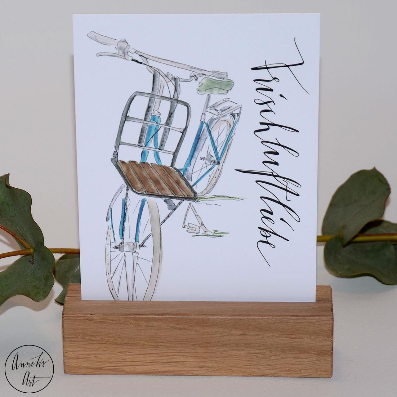Postkarte Frischluftliebe mit Fahrrad