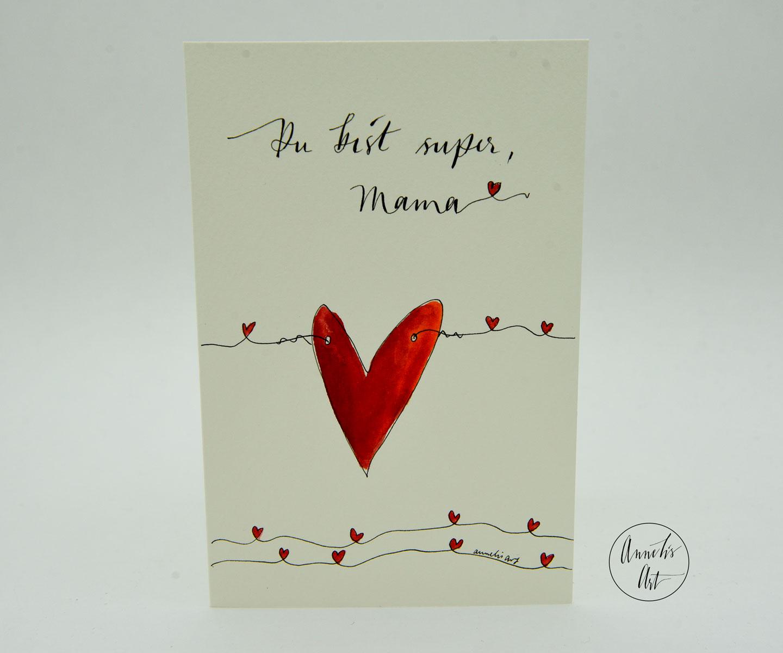 Personalisierte Grußkarte zum Muttertag | handgefertigt | Du bist super, Mama!