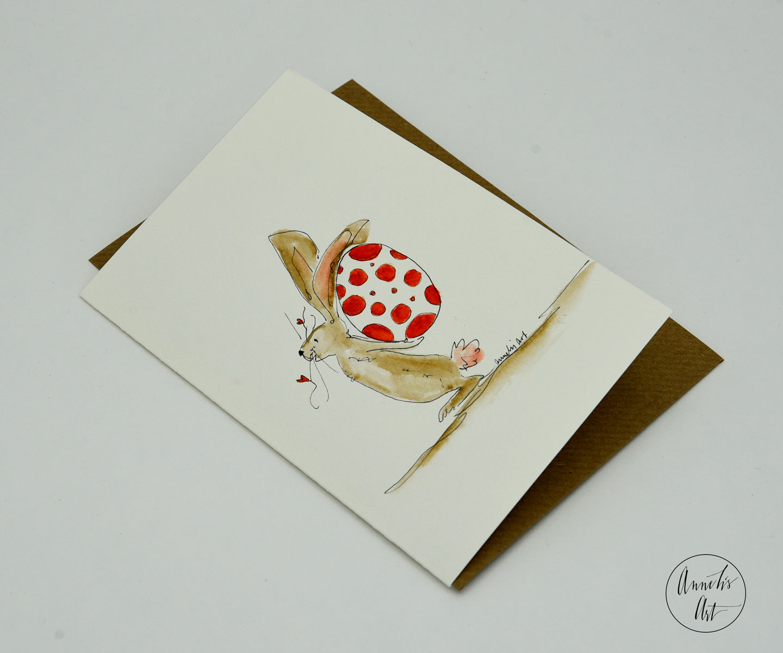 Grußkarte mit Umschlag | Hase mit Ei hinterm Rücken | Osterkarte