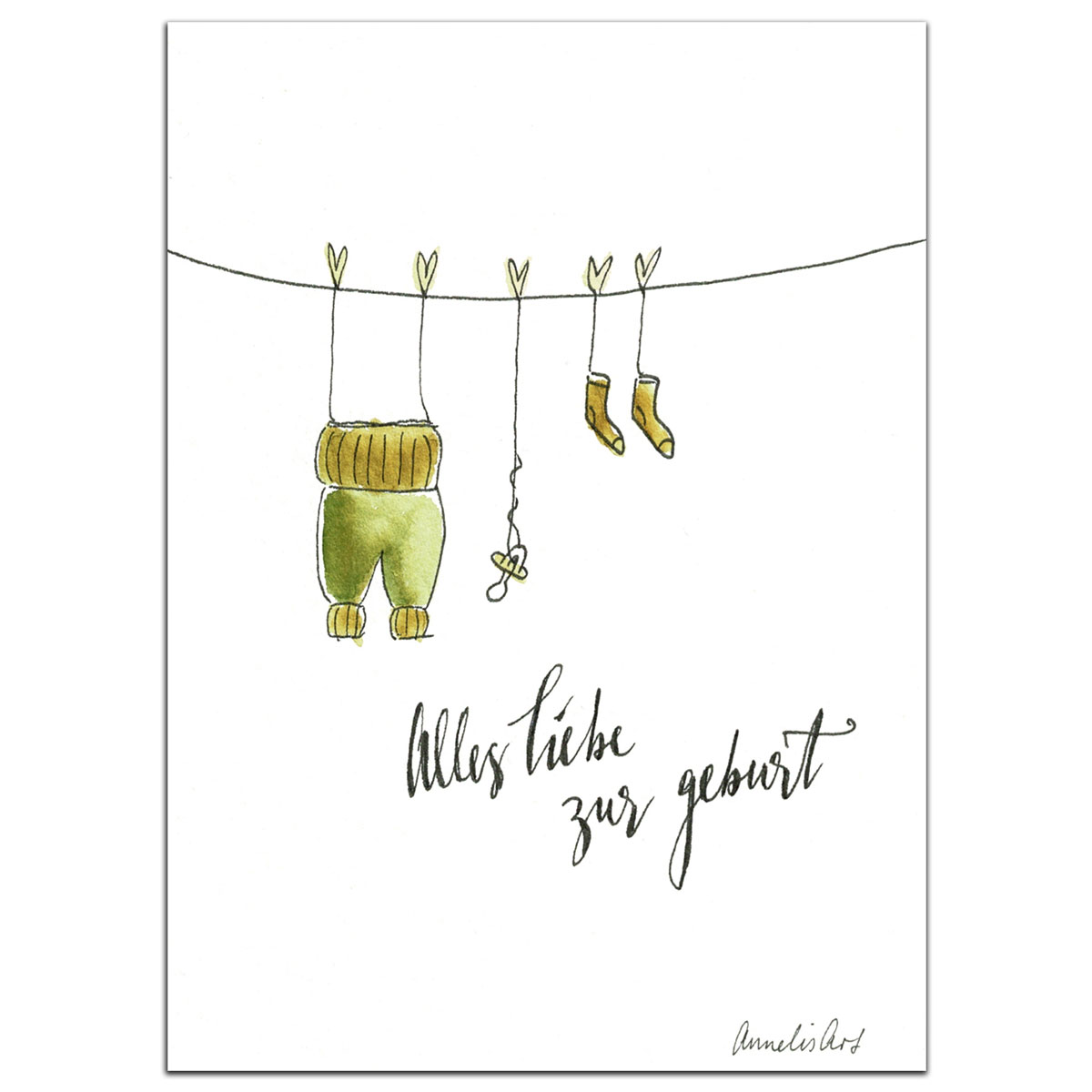 Grußkarte | Klappkarte zur Geburt mit Umschlag - Pumphose, Schnuller, Socken, handgefertigt