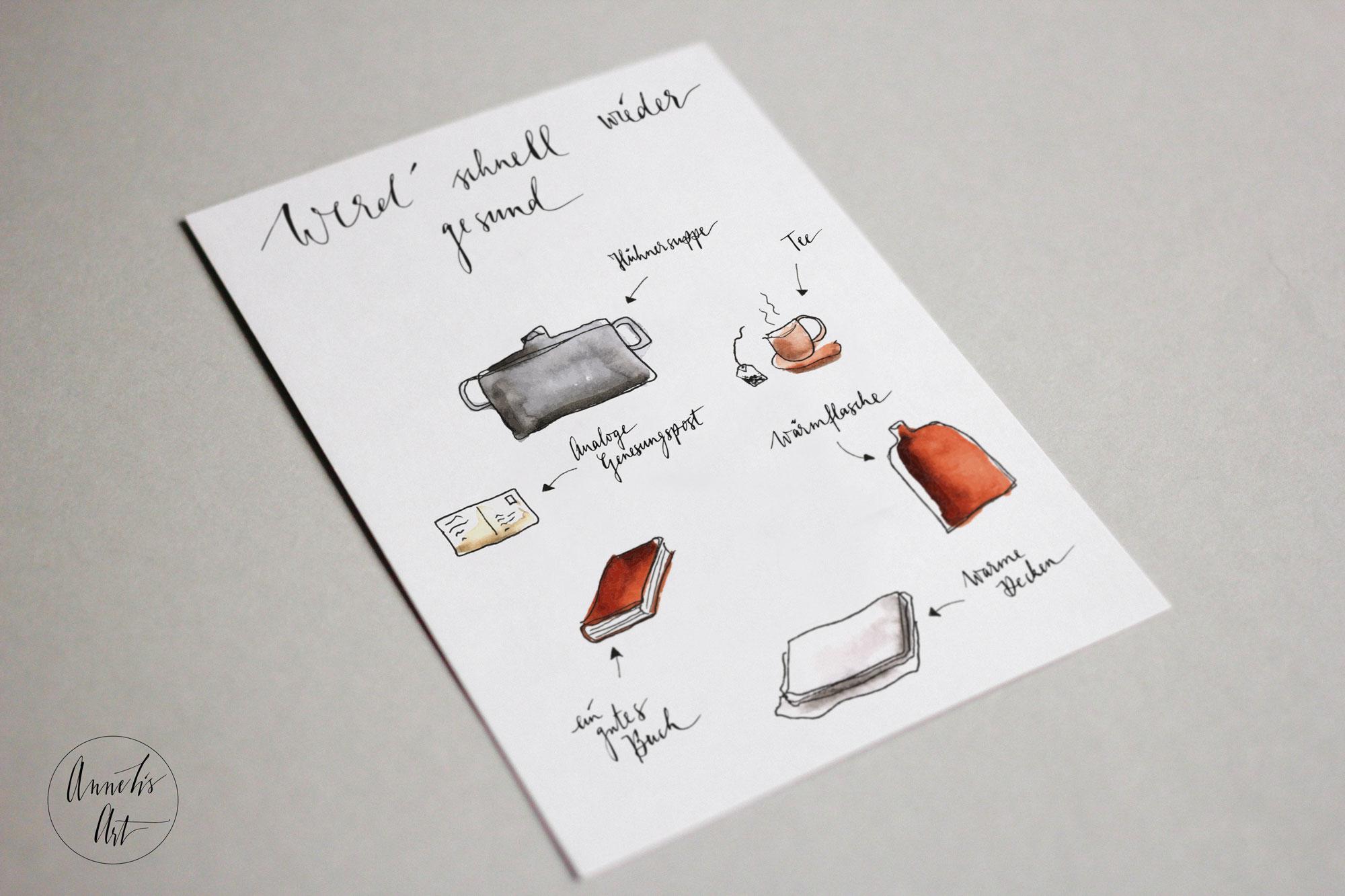Postkarte | Gute Besserung dies und das