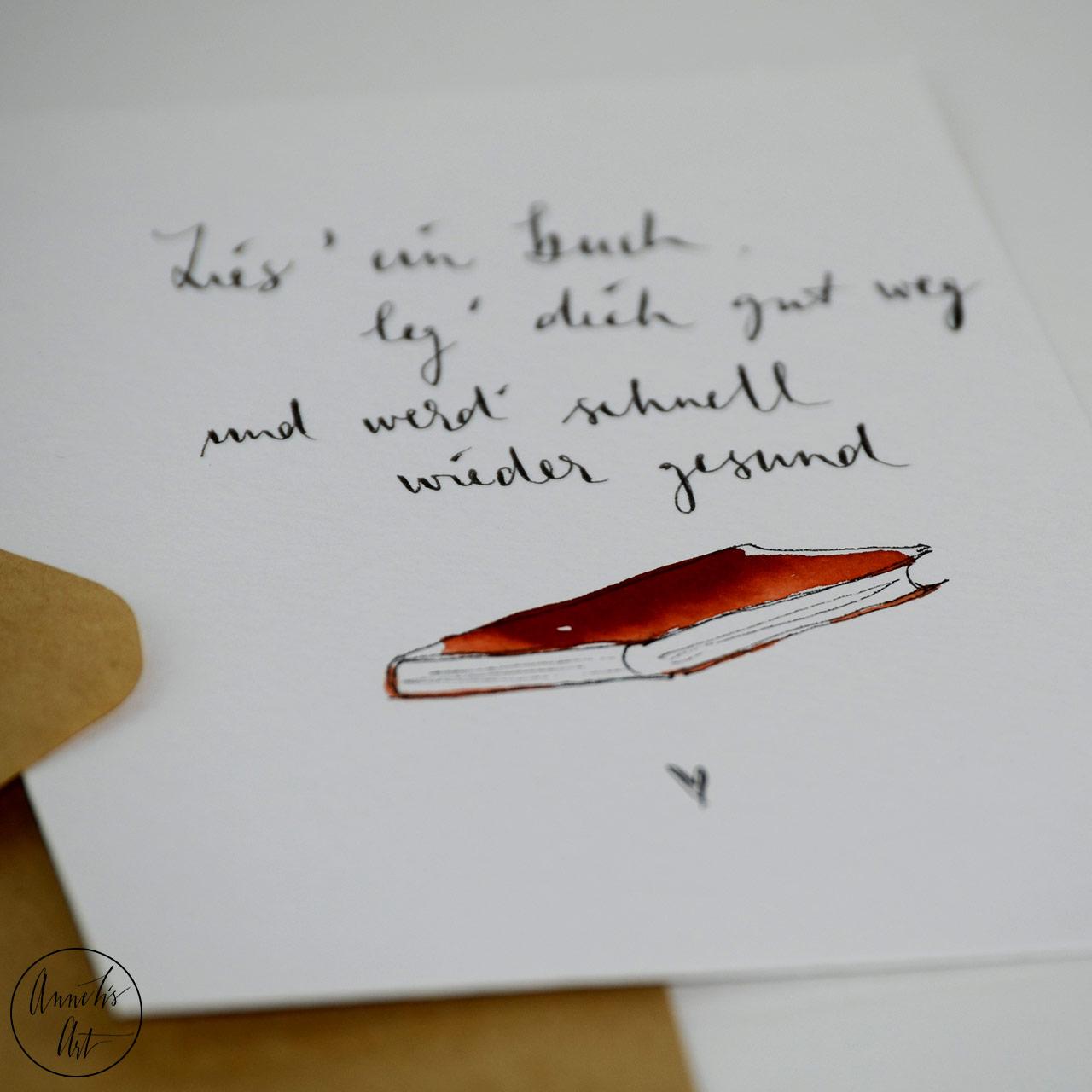 Grußkarte | Klappkarte mit Umschlag - Gute Besserung, Leg dich mit Buch gut weg