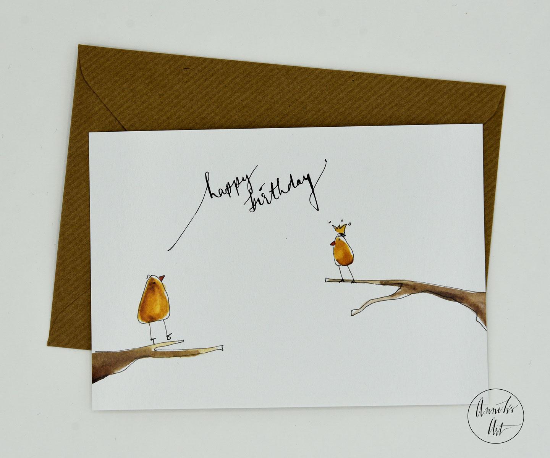 Postkarte | Geburtstagskarte | happy birthday | zwei Küken mit Krone