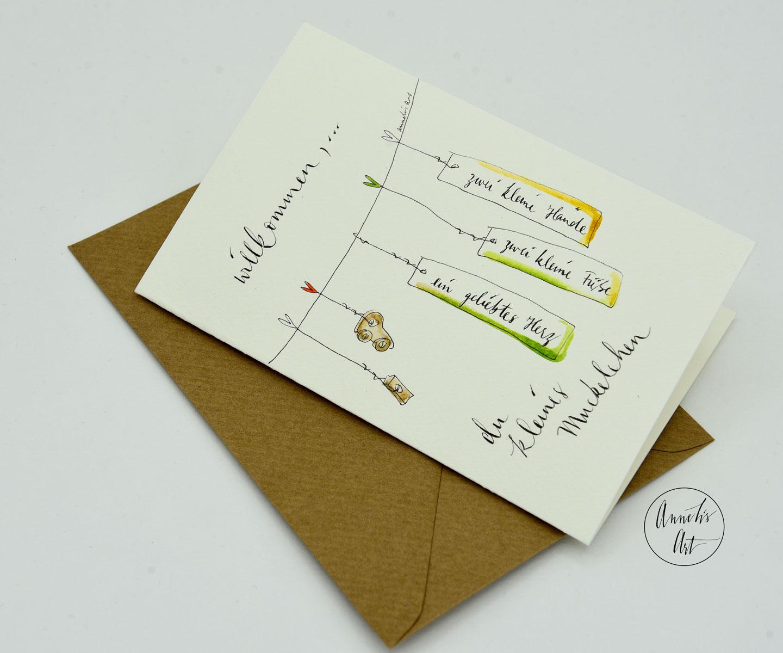 Personalisierte Grußkarte zur Geburt | Willkommen, du kleines Muckelchen | dein Schriftzug, deine Farben