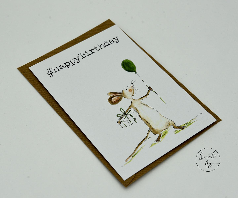 Postkarte | Geburtstagskarte | #happyBirthday | Maus mit Geschenk und Ballon