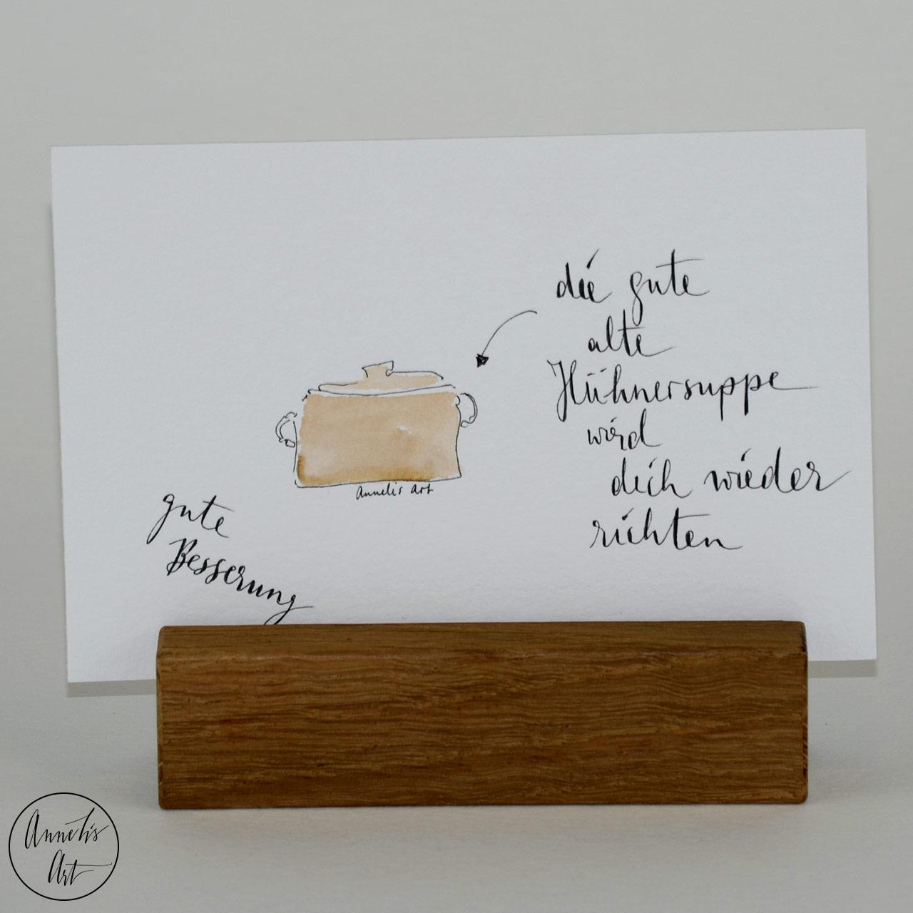 Grußkarte | Klappkarte mit Umschlag - Gute Besserung, Hühnersuppe