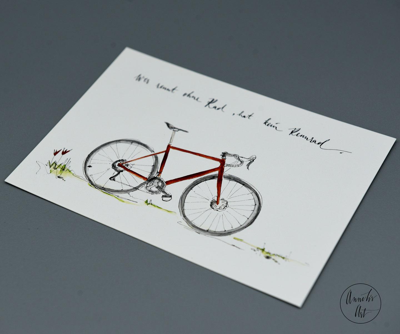 """Postkarte Rennrad mit Spruch """"Wer rennt ohne Rad..."""""""