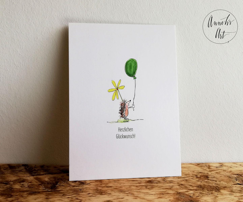 Postkarte | Herzlichen Glückwunsch | Igel mit Ballon | Geburtstagskarte