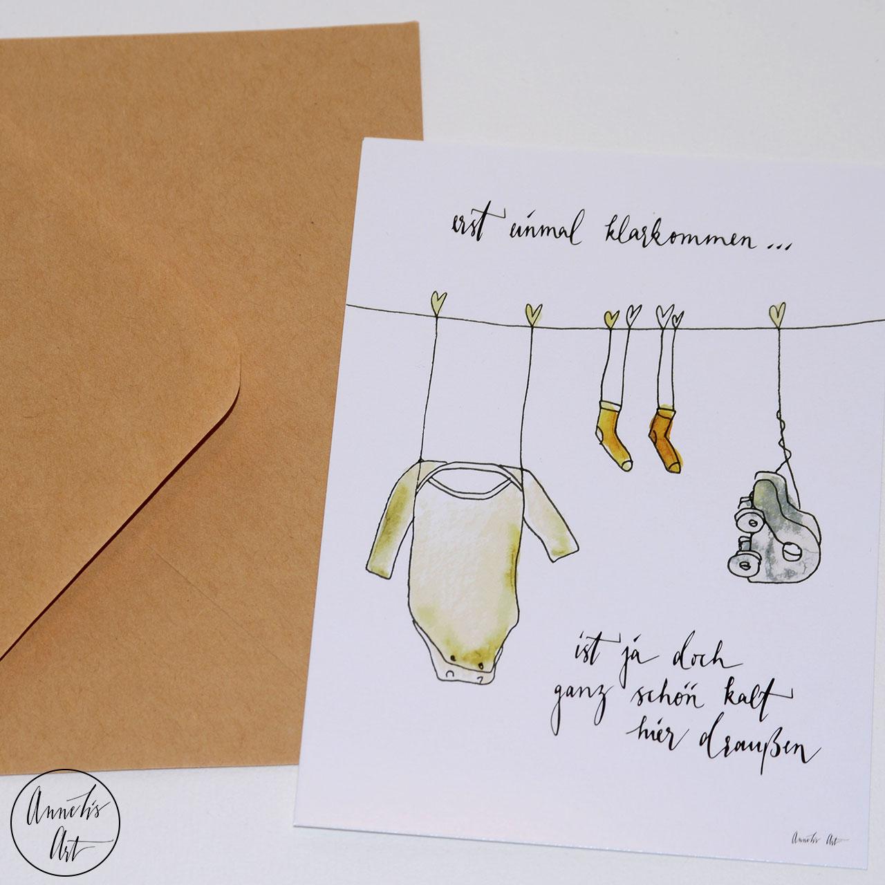 Postkarte zur Geburt - Erst einmal klarkommen