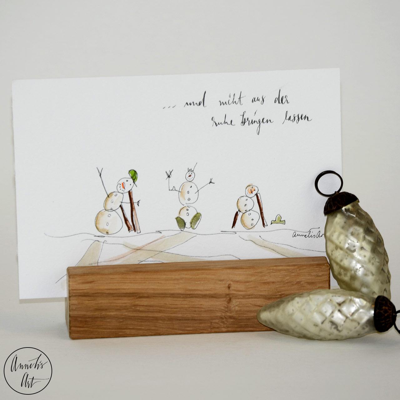 Weihnachtskarte - Ruhige Schneemänner | Grußkarte | Klappkarte mit Umschlag