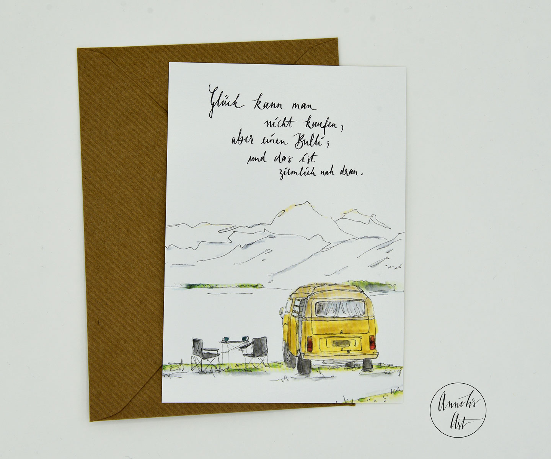 Postkarte   Bulli   Glück kann man nicht kaufen, aber einen Bulli