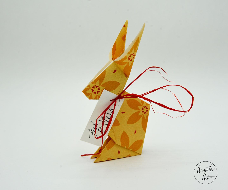 Origami-Osterhase | 15 cm | Jackie gelb | dein individueller Schriftzug