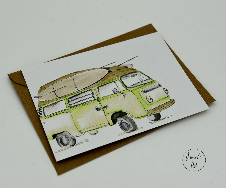 Postkarte | Bulli | Grüner Surfbulli