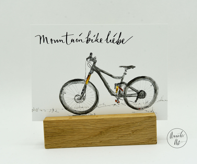 Mountainbike Postkarte MTB Liebe