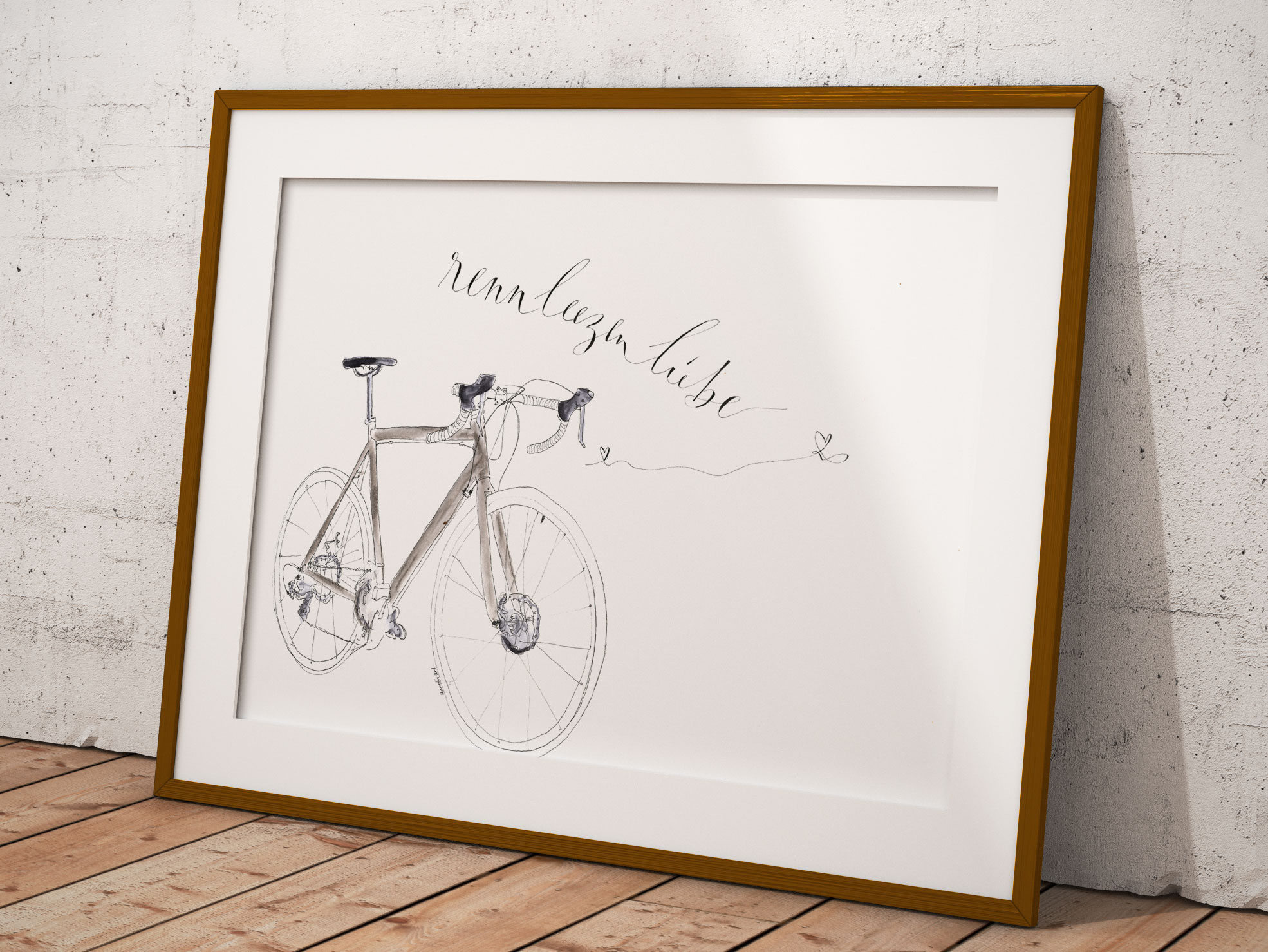 30x40 Wandbild - Rennleezenliebe - Graues Rennrad - Einzelstück