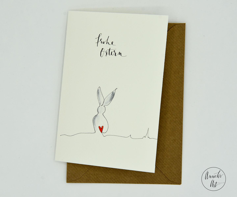 Grußkarte mit Umschlag | Ein Hasenrücken kann auch entzücken | Osterkarte