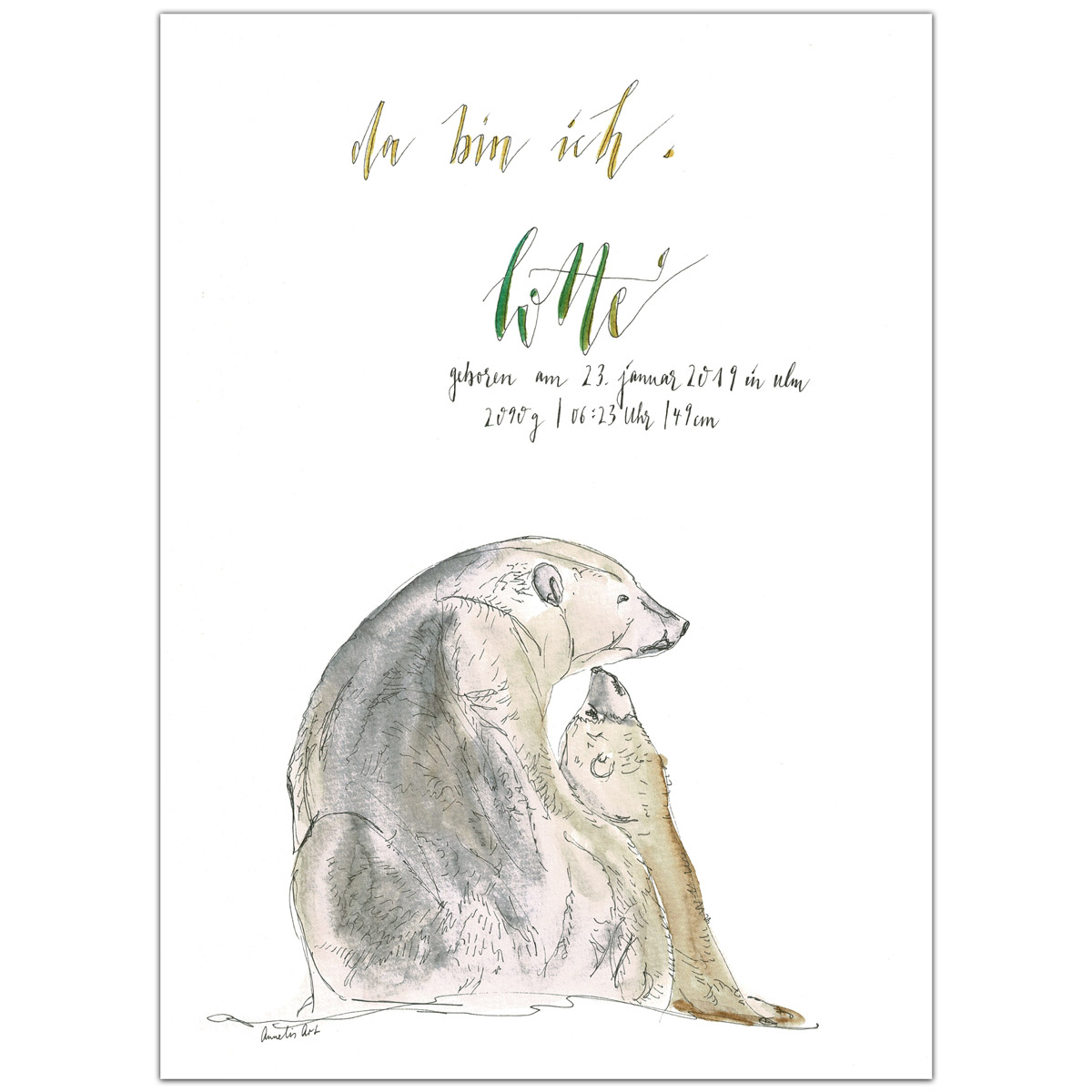 Original Aquarell | Personalisierte Anzeige zur Geburt oder Taufe, Eisbären