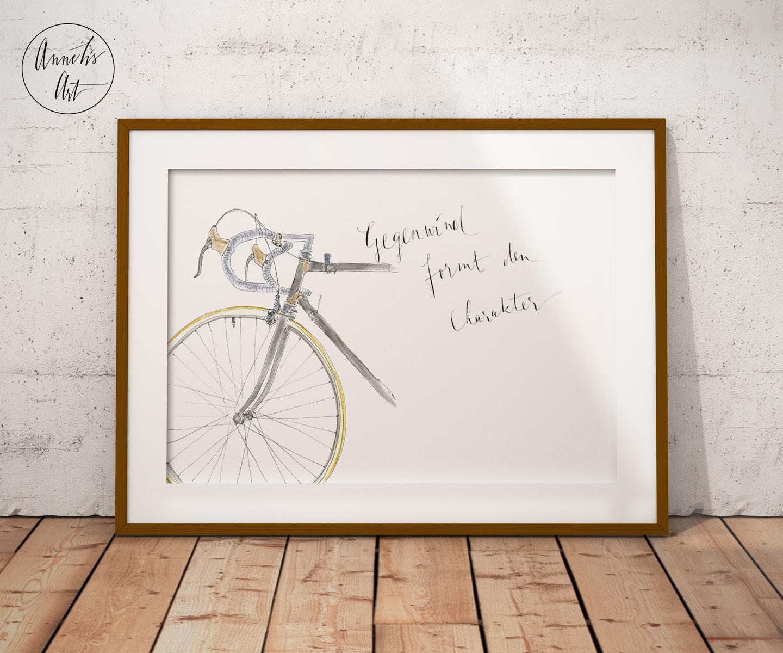 Original Aquarell | Personalisisertes Wandbild Motiv RENNRAD 3