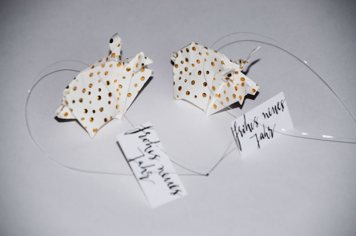 Origami-Glücksschweine zu Silvester, frohes neues Jahr, 3er-Set