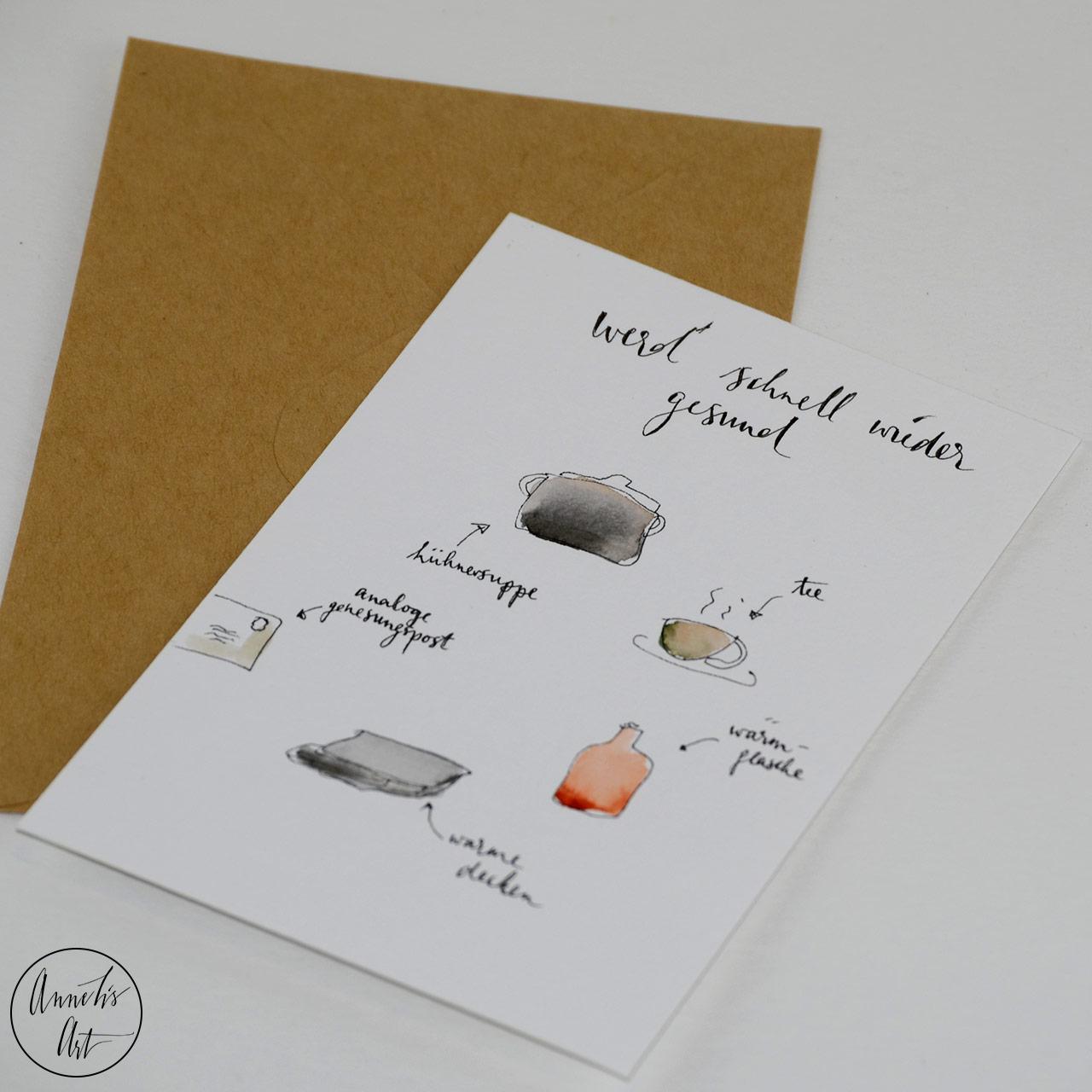 Grußkarte   Klappkarte mit Umschlag - Gute Besserung, Gute alte Hausmittel