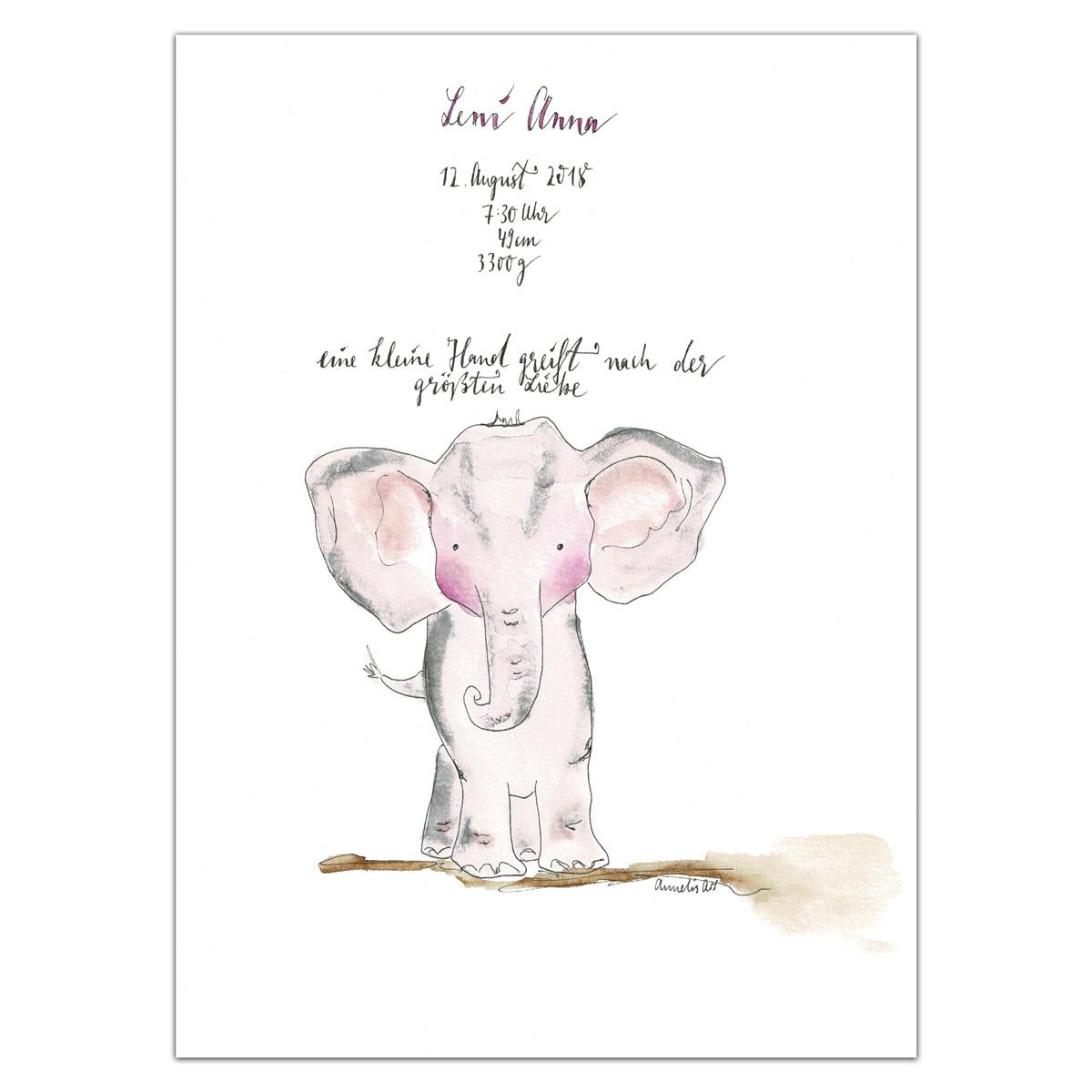 Original Aquarell | Personalisiserte Geburtsanzeige für das Kinderzimmer, Elefant