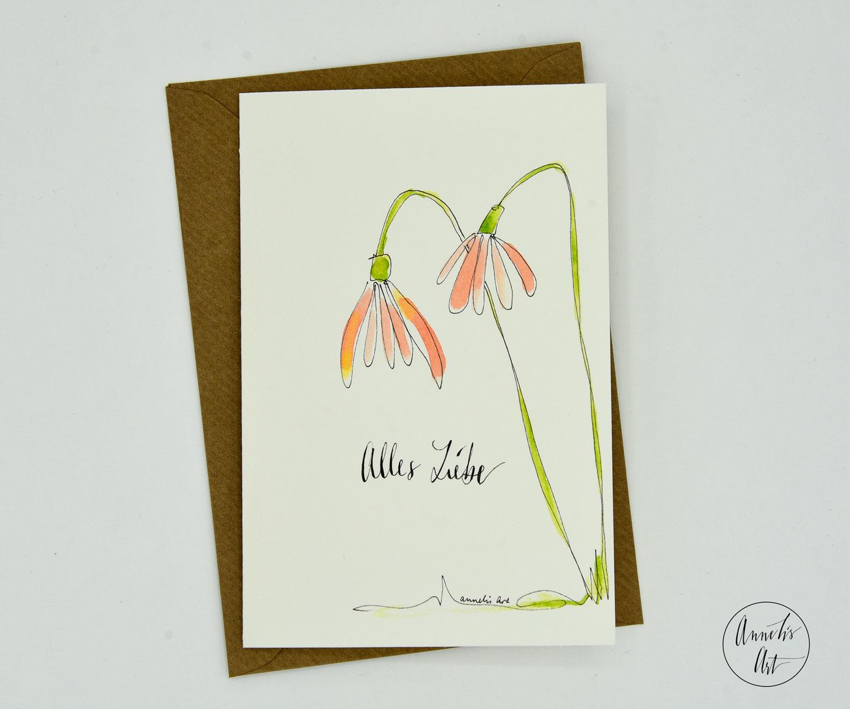 Grußkarte mit Umschlag | blumige Frühlingskarte | Osterkarte