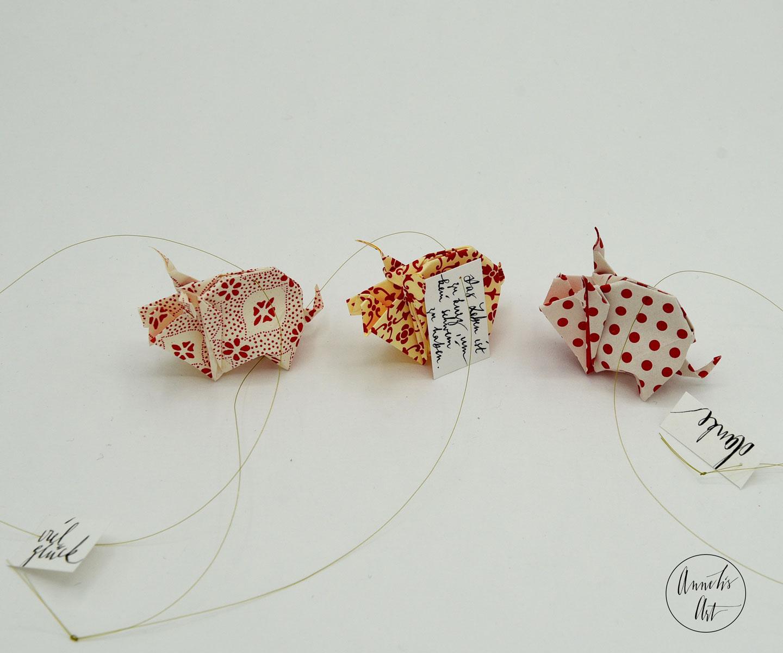 Origami-Glücksschweine | Silvester | 3er-Set | Rottöne-2