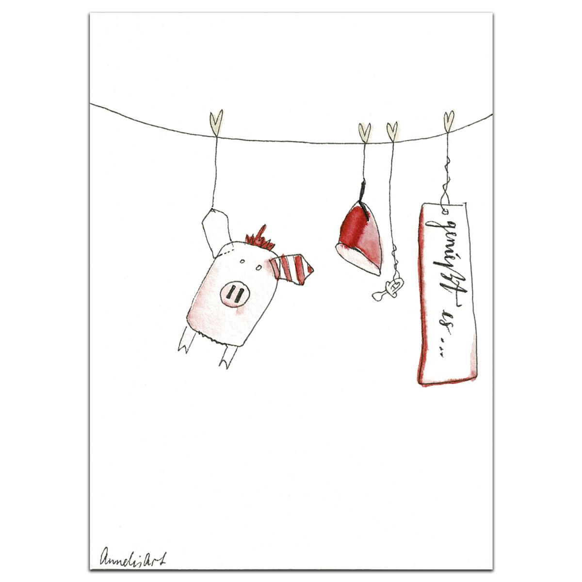 Grußkarte | Klappkarte mit Umschlag zur Geburt - Wärmekissen-Schweinchen, handgefertigt
