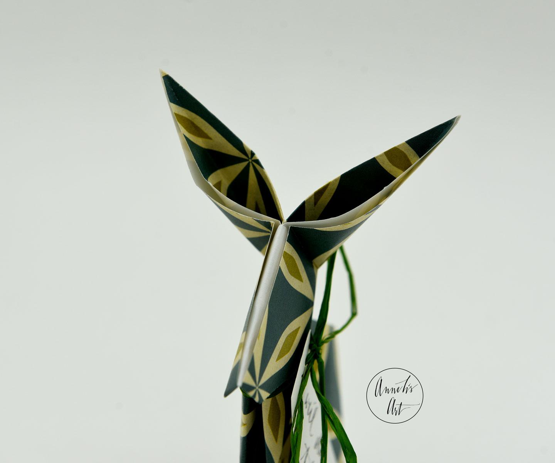 Origami-Osterhase | 15 cm | weil du toll bist | Alma blau grün | dein individueller Schriftzug