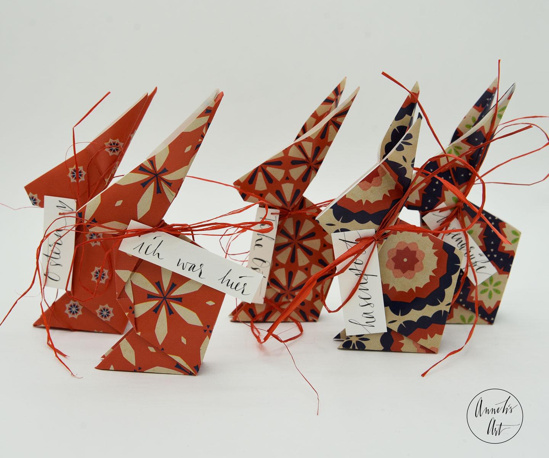 Origami-Osterhasen | 5er-Set | 15 cm | deine individuellen Schriftzüge | Marlies