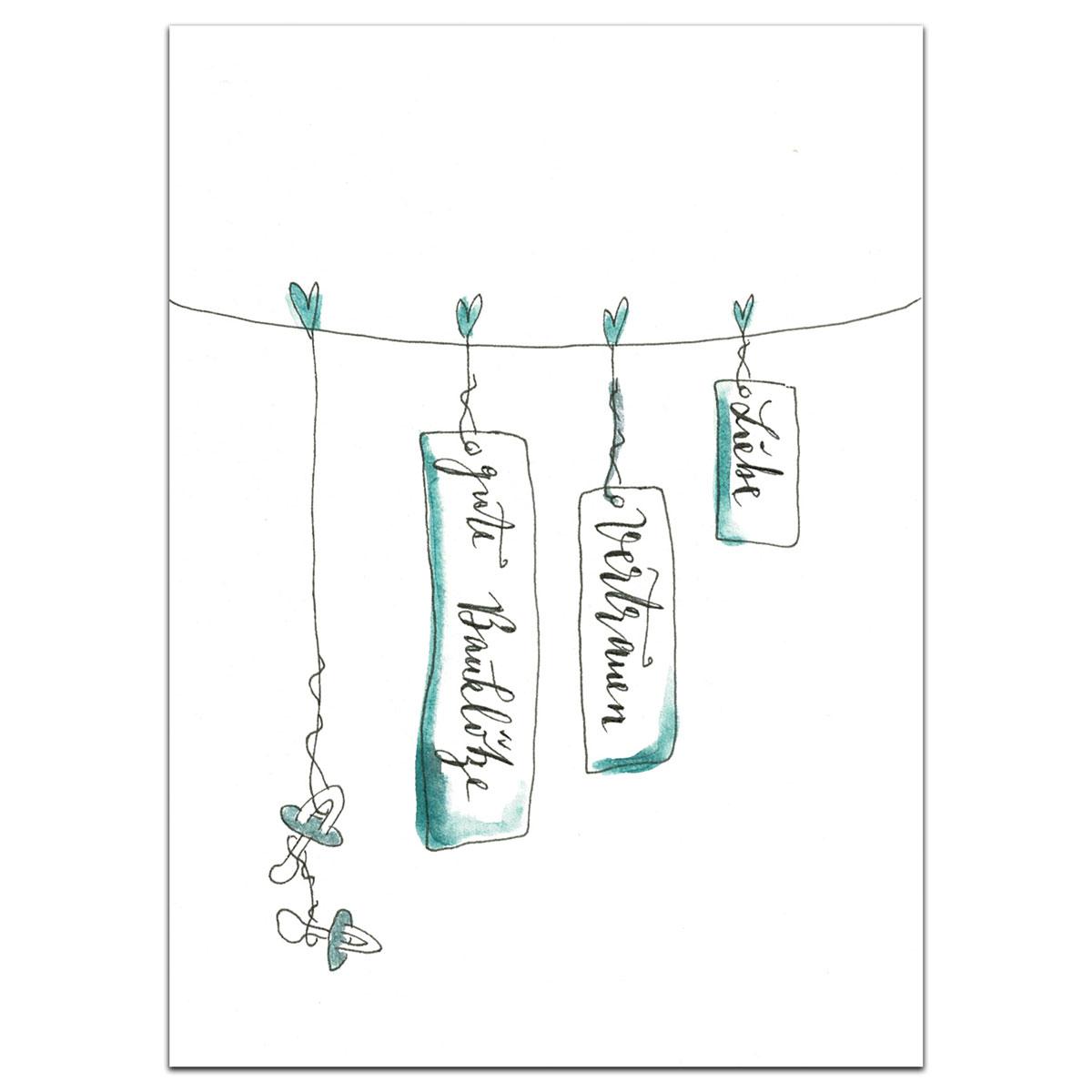 Grußkarte | Klappkarte zur Geburt mit Umschlag - Liebe, Vertrauen, gute Bauklötze, handgefertigt