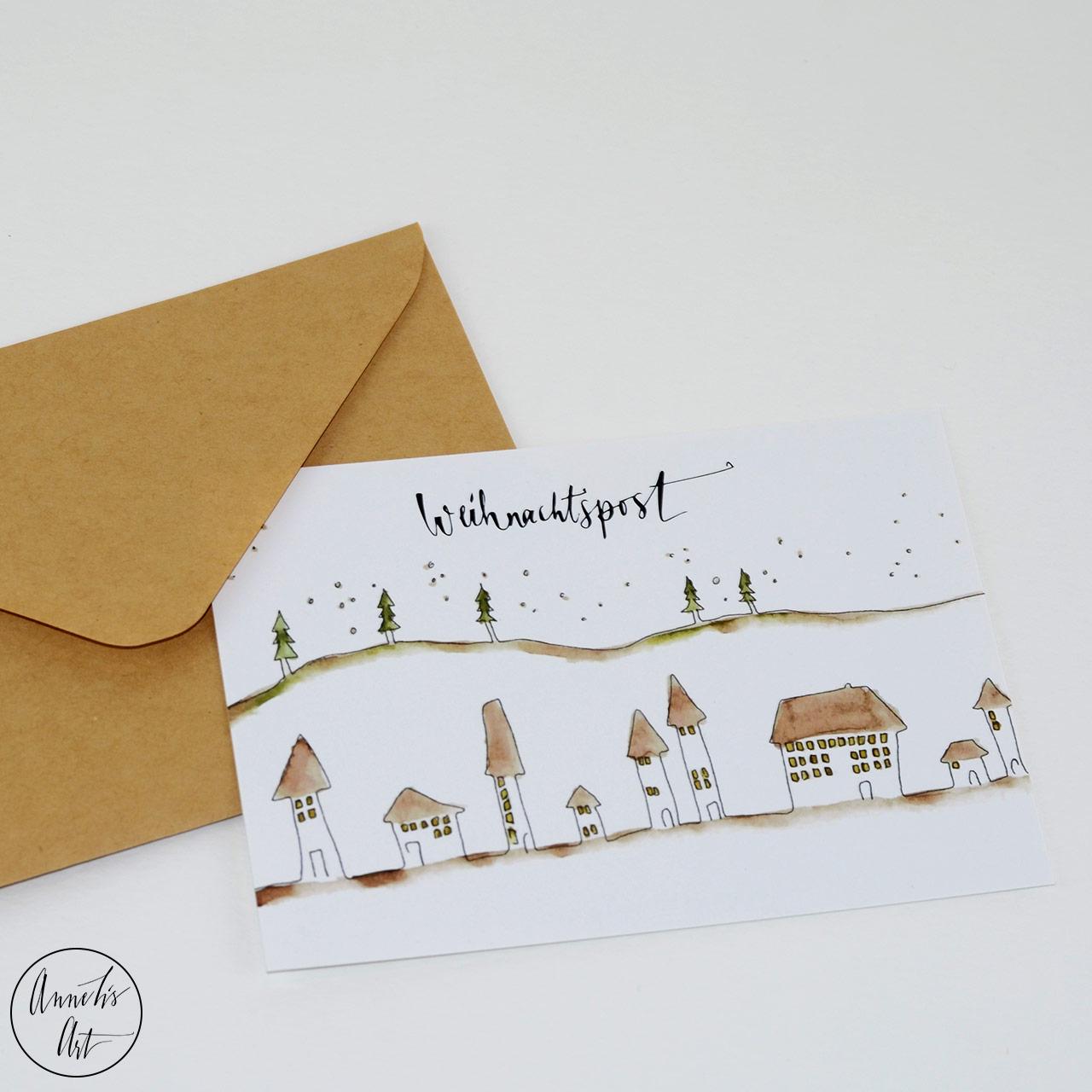 Postkarte | Weihnachtskarte | Stadt und Wald im Winter