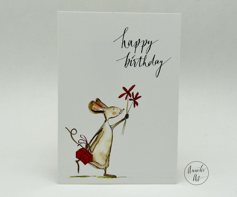 Postkarte | Geburtstagskarte | happy birthday | Maus mit Geschenk und Blumen