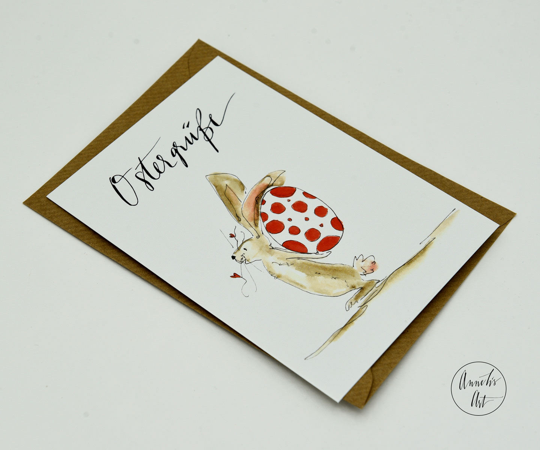 Postkarte | Osterkarte | Hase mit Ei hinterm Rücken