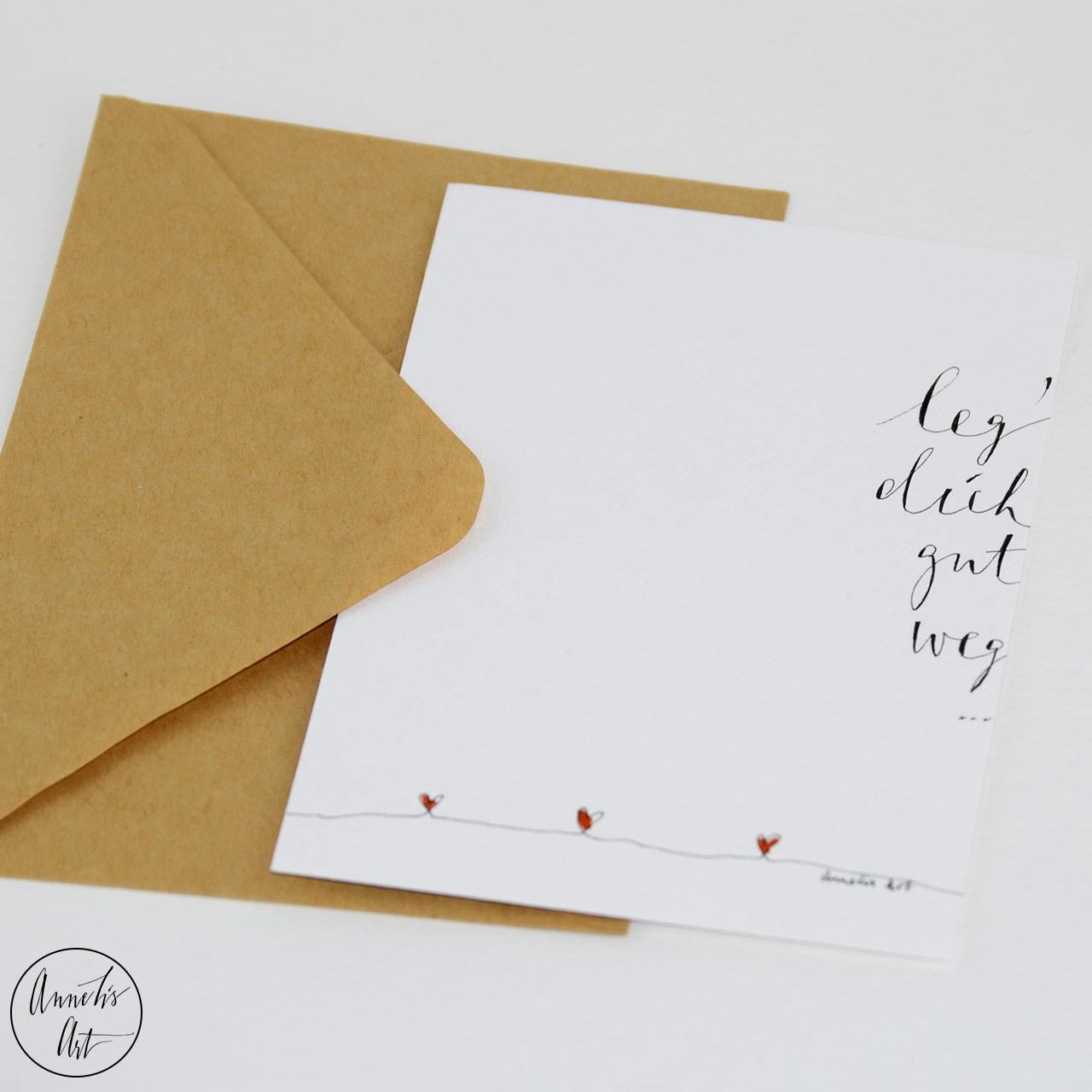 Grußkarte | Klappkarte mit Umschlag - Gute Besserung, Leg dich gut weg