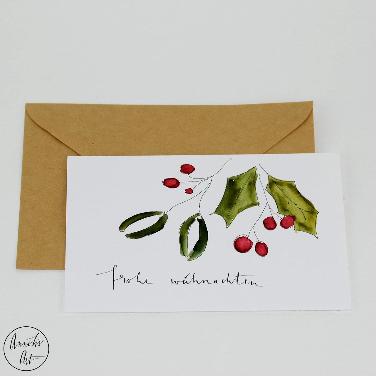 Weihnachtskarte - Mistelzweig | Grußkarte | Klappkarte mit Umschlag
