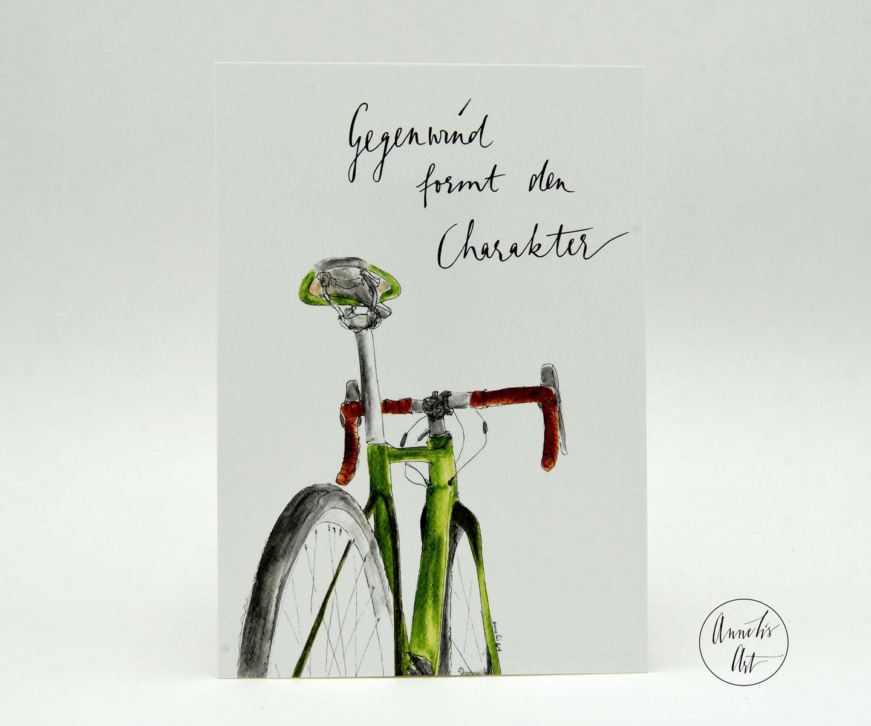 Rennrad Postkarte mit Spruch