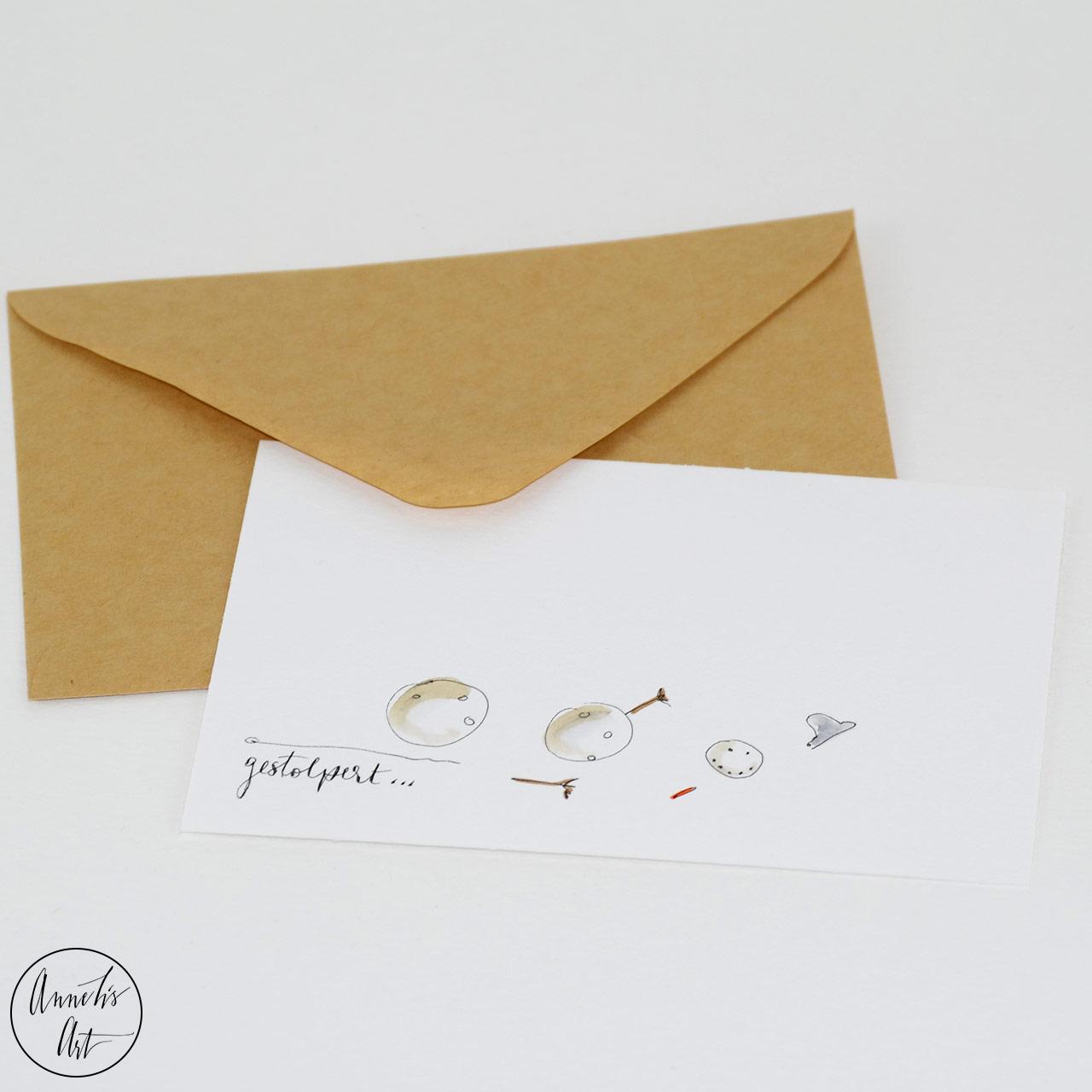 Weihnachtskarte - gestolpert | Grußkarte | Klappkarte mit Umschlag
