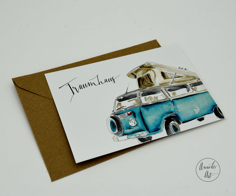 Postkarte Bulli mit Aufstelldach Traumhaus