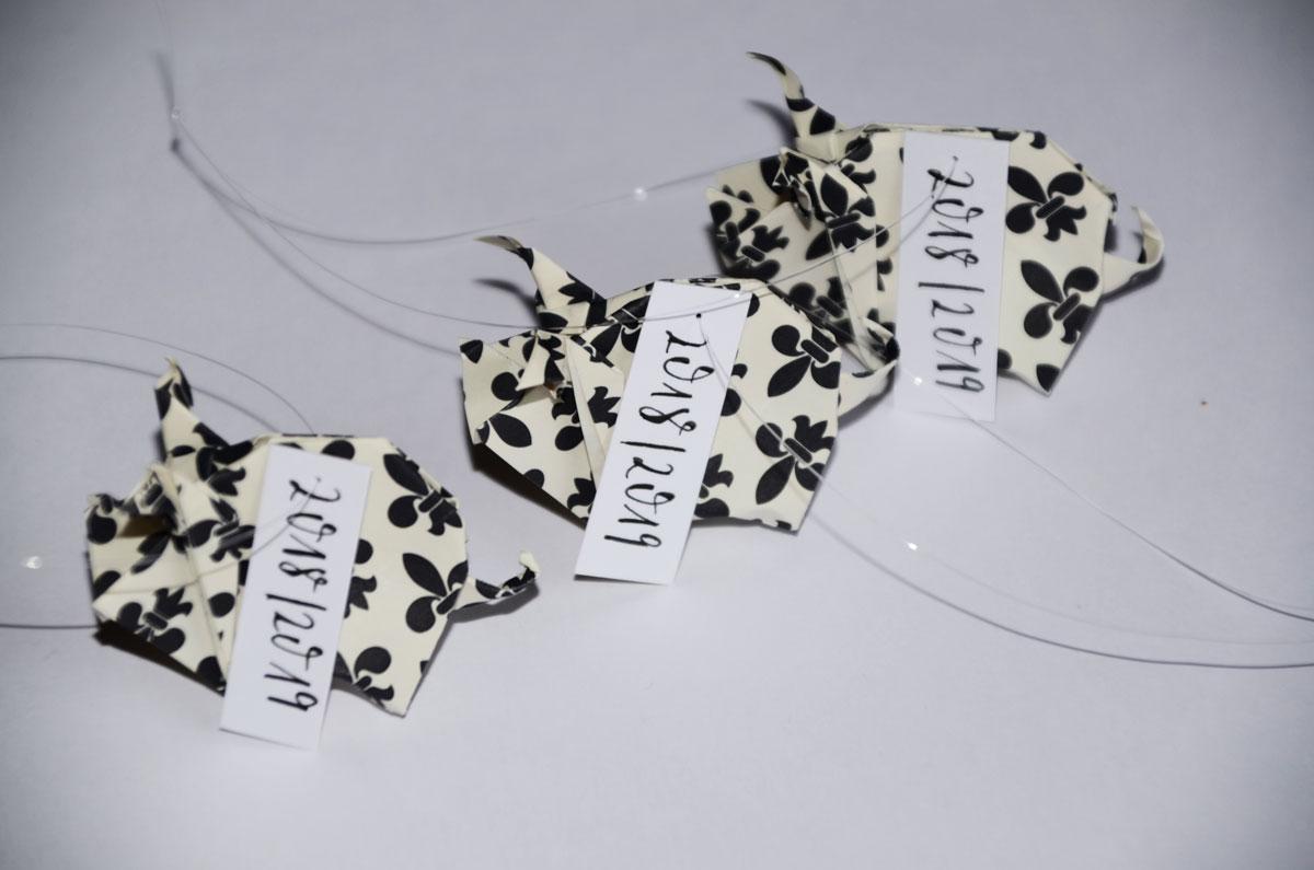 Origami-Glücksschweine zu Silvester Jahreszahl, 3er-Set