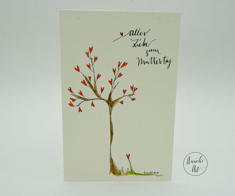 Personalisierte Grußkarte zum Muttertag | handgefertigt | Herzensbaum